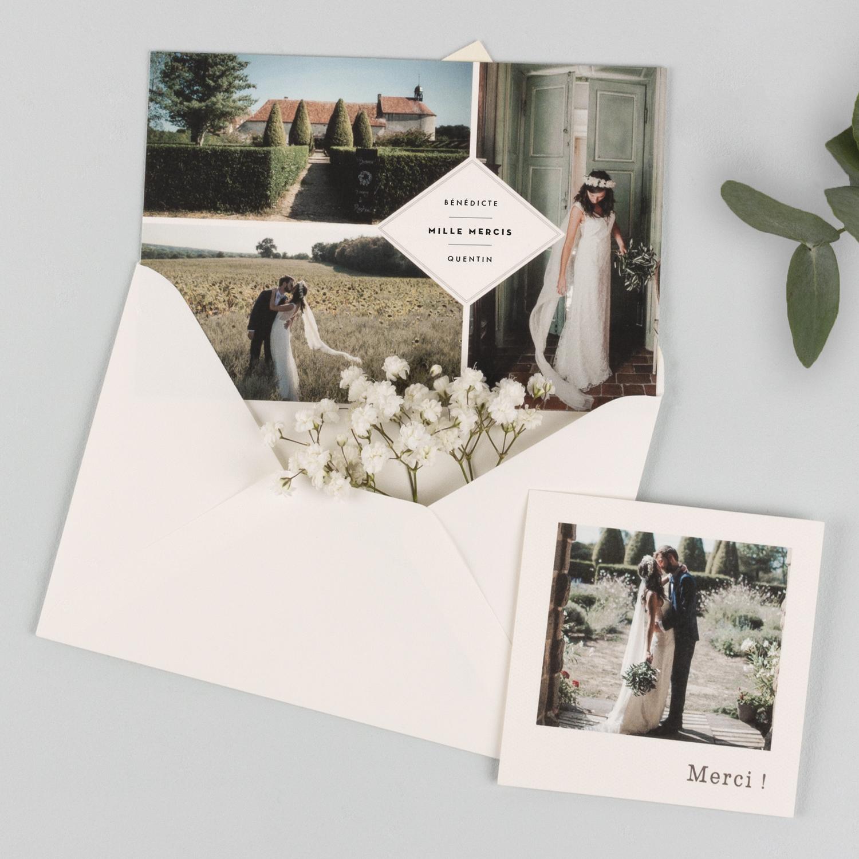 Cartes de remerciements Polaroid et 3 photos