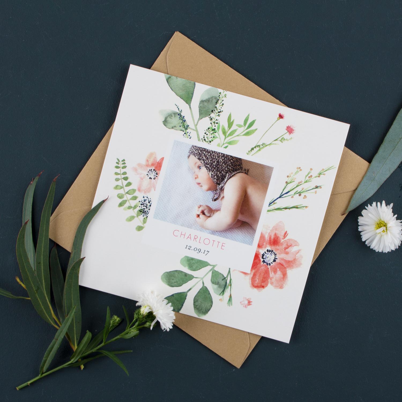 Faire part de naissance Floral Aquarelle avec plantes