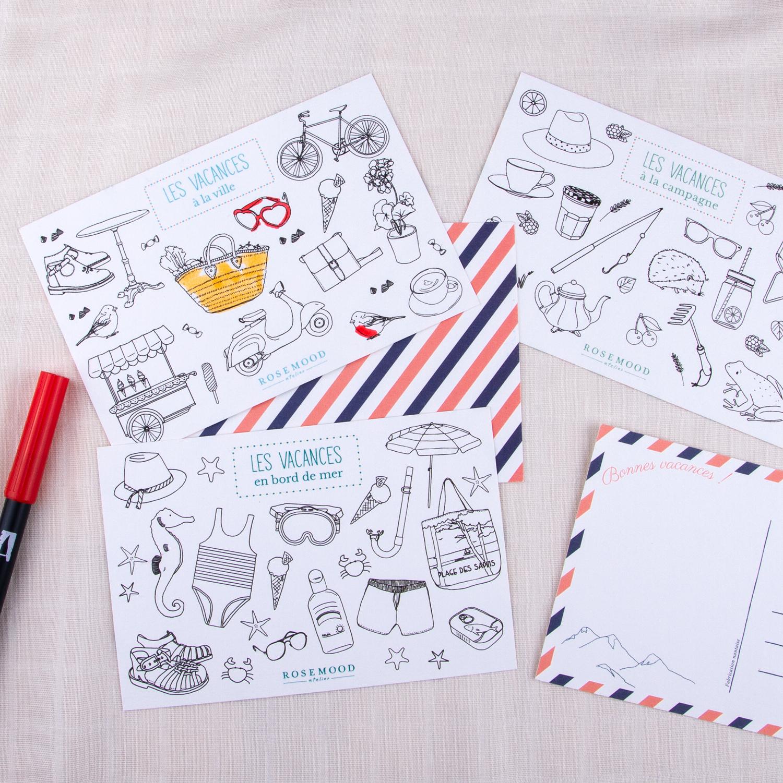 Série de cartes illustrées sur le thème des vacances