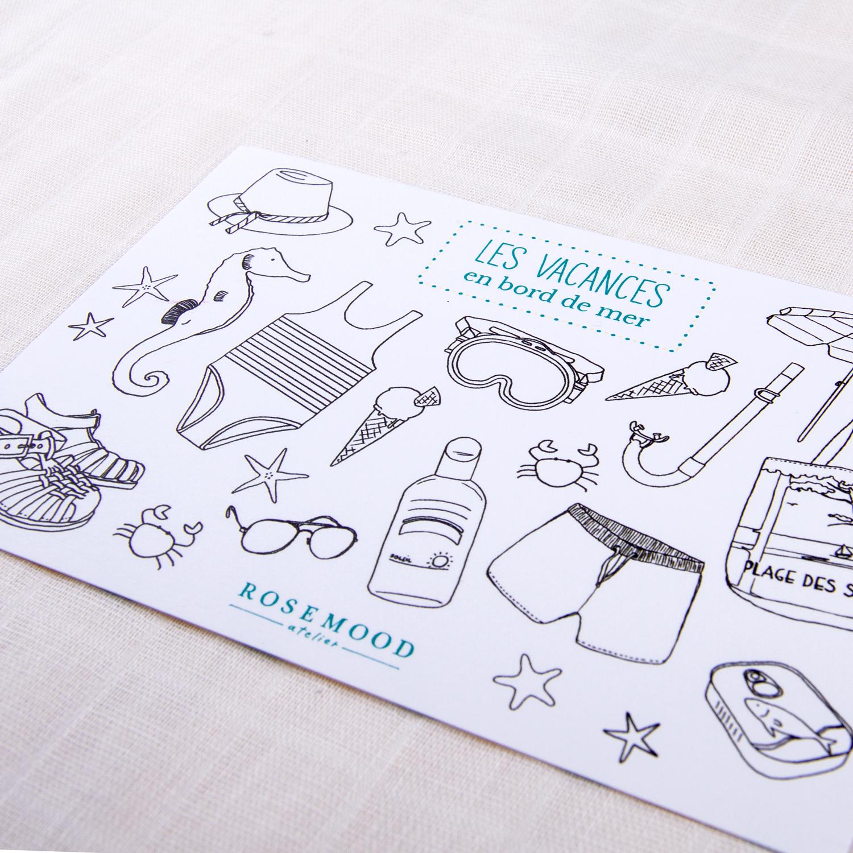 Carte avec illustrations sur le thème des vacances à la mer