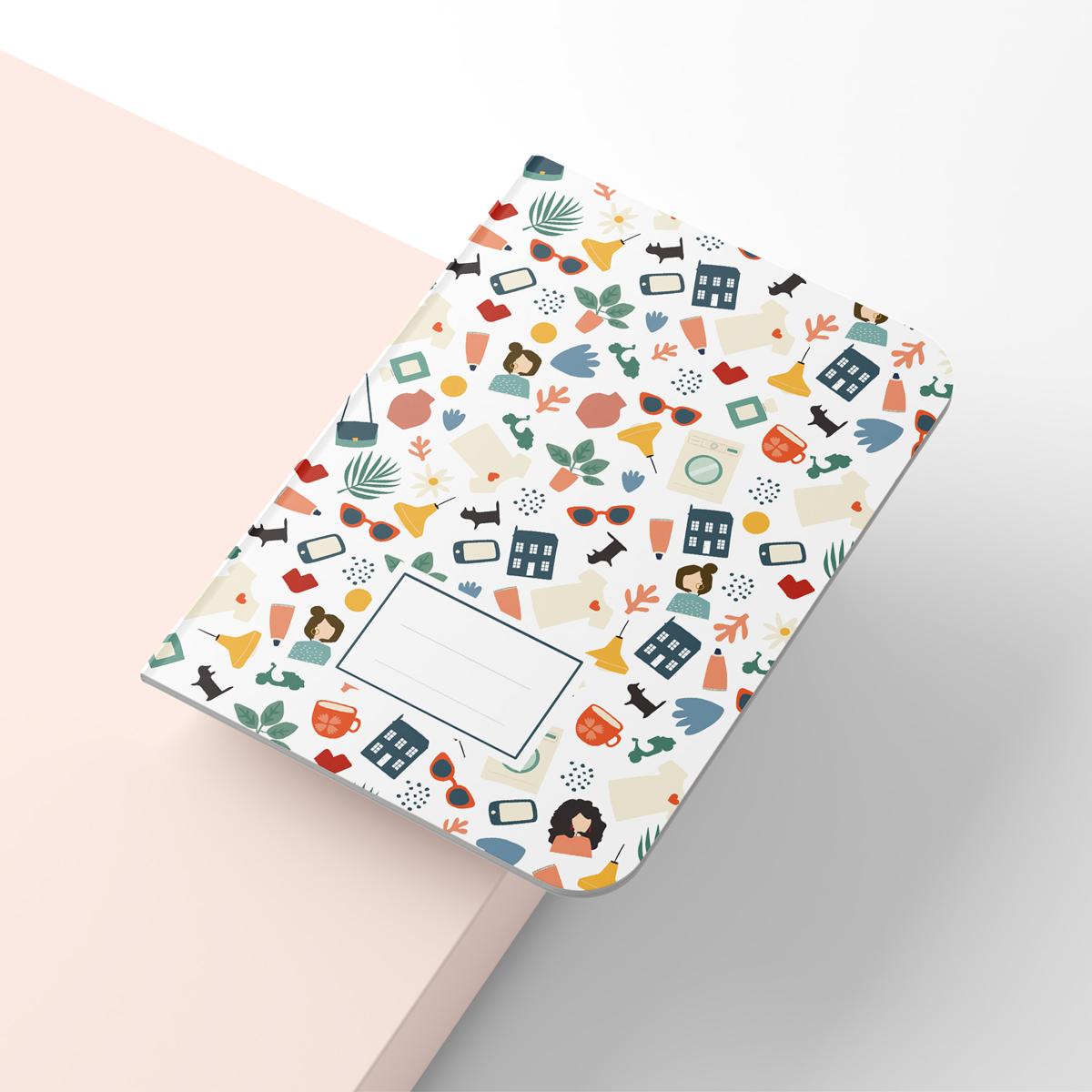 Exemple d'application d'un des motifs du projet sur un cahier