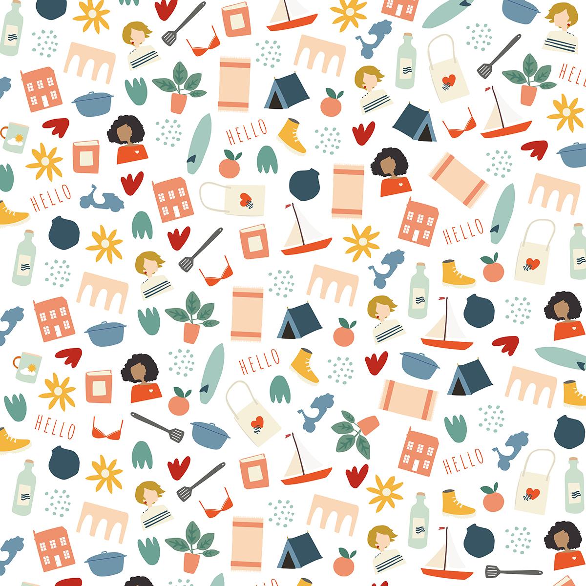 Un des motifs du projet Petites Nantaises, maison, chaussures de rando, livre, accessoire de cuisine, etc...